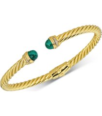howlite & diamond (1/10 ct. t.w.) cuff bangle bracelet in 14k gold-plated sterling silver (also in onyx, jade, & malachite)