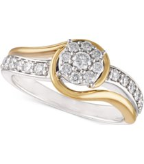 two-tone diamond cluster bridal ring (1/2 ct. t.w.) in 14k white gold and 14k gold