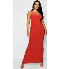 plus strakke maxi jurk met bandjes, rood