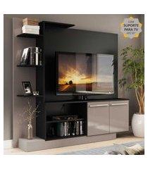 estante home theater com suporte para tv até 55'' denver multimóveis preto/lacca fumê