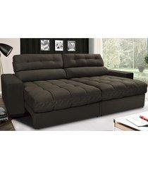 sofã¡ retrã¡til e reclinã¡vel com molas ensacadas cama inbox master 2,32m tecido suede cafã© - incolor - dafiti