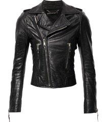 balenciaga pre-owned zipped cuffs biker jacket - black