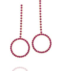 brinco dona diva semi joias longo círculo rosa