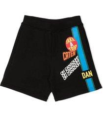 dsquared2 black cotton track shorts