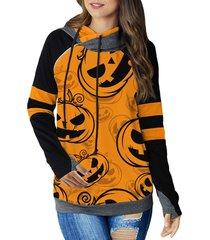 halloween pumpkin thumb hole raglan sleeve hoodie