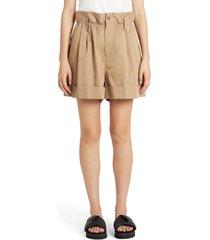 women's moncler paperbag waist shorts, size 12 us - beige