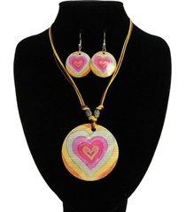collar nacar corazon rosa