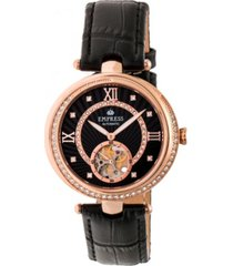 empress stella automatic rose gold dial, black leather watch 39mm