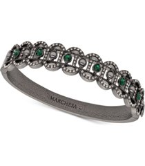 marchesa hematite-tone crystal & imitation pearl filigree bangle bracelet