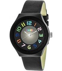 crayo unisex atomic black genuine leather strap watch 36mm