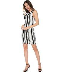 vestido sin manga casual listrado vertical blanco y negro natural basic