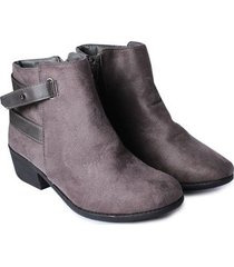 botin con correas color gris, talla 36