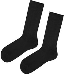 calzedonia - short cuffed cotton socks, no elastic, one size, black, men