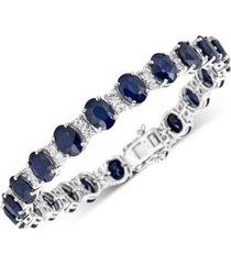 sapphire (20-1/5 ct. t.w.) & diamond (1/8 ct. t.w.) tennis bracelet in sterling silver