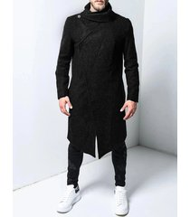 incerun abrigo de cuello de solapa con dobladillo irregular de color sólido informal cálido de invierno para hombre