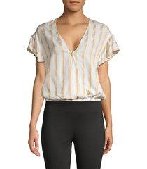 bcbgeneration women's striped faux wrap top - optic white - size l