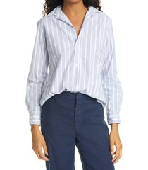 frank & eileen frank plaid crepe button-up shirt, size small in multi blue wide white stripe at nordstrom
