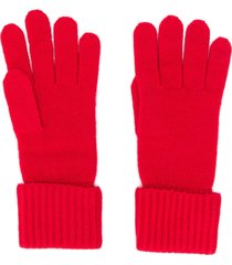 n.peal ribbed knit gloves - red