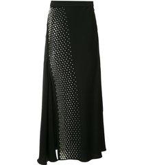 studded pleated midi skirt