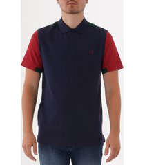 fred perry bold cuff insert polo shirt - carbon blue m5576-266