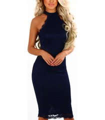 halter azul marino cuello midi bodycon de encaje delicado vestido
