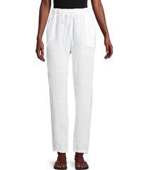 saks fifth avenue women's drawstring linen pants - white - size xl