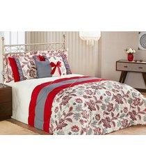 edredom vitória queen vermelho com porta travesseiro com 7 peças - tricae