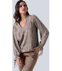 blouse alba moda grijs::offwhite::taupe