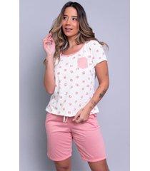 pijama feminino serra e mar modas estampado com bolso hadassa coral - coral - feminino - poliã©ster - dafiti