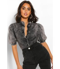 puff short sleeve denim blouse, grey