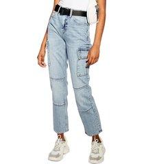 women's topshop belted moto straight leg jeans, size 28w x 30l (fits like 27w) - blue