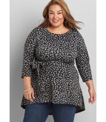 lane bryant women's belted animal print tunic 14/16 heather grey and black