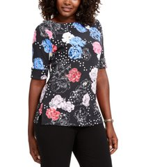 karen scott petite printed elbow-sleeve t-shirt, created for macy's