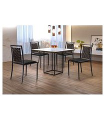 conjunto de mesa de jantar hera com tampo de vidro mocaccino e 4 cadeiras grécia i couríssimo preto