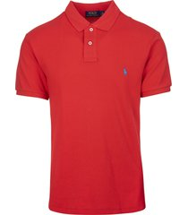 man red and light blue slim-fit pique polo shirt