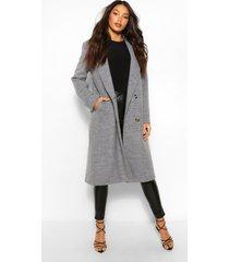 lang geruite boyfriend jas met wollook en dubbele knoopsluiting, grijs
