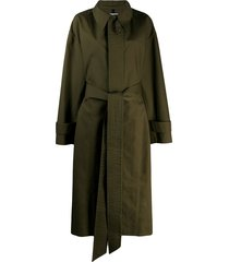 ami paris oversized belted trench coat - green