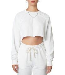women's nia orchard crop cotton blend sweatshirt, size medium - white