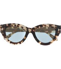 tom ford eyewear slater tortoiseshell-effect sunglasses - brown
