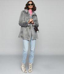 reiss lexington - faux fur coat in grey, womens, size xl