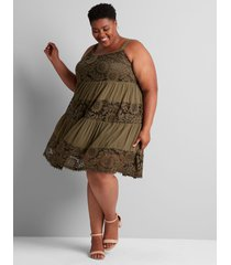 lane bryant women's sleeveless lace-inset fit & flare dress 14/16 dried sage