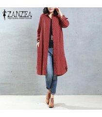 zanzea mujeres otoño solapa cuello botones camisa larga blusa casual bordado retro algodón lino vestido suelto top s-5xl rojo -rojo