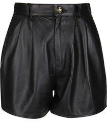 etro black leather shorts
