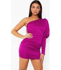 mini jurk met pofmouwen en eén blote schouder, purple