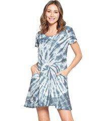 yak & yeti women's dress tie dye textured fabric with pockets - gray - medium polyester/rayon