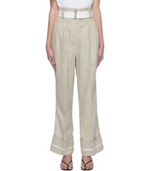 roll up hem centre pleat wide leg belted linen pants