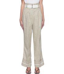 roll up hem centre pleat wide leg belted linen pants