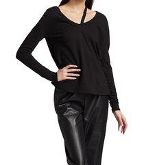 n:philanthropy women's cutout cotton long-sleeve top - black - size xl