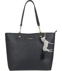 karl lagerfeld paris women's zebra-charm shopper tote - black gold