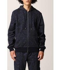 etro sweatshirt etro zip-up sweatshirt in cotton with paisley motif